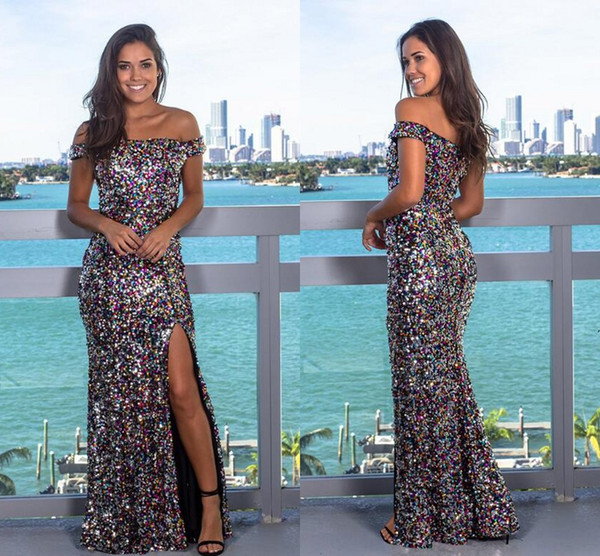 Sparkly Colorful Sequins Mermaid Prom Formal Dresses 2019 Sexy Slit Full Length Cheap Occasion Trumpet Evening Cocktail Dress