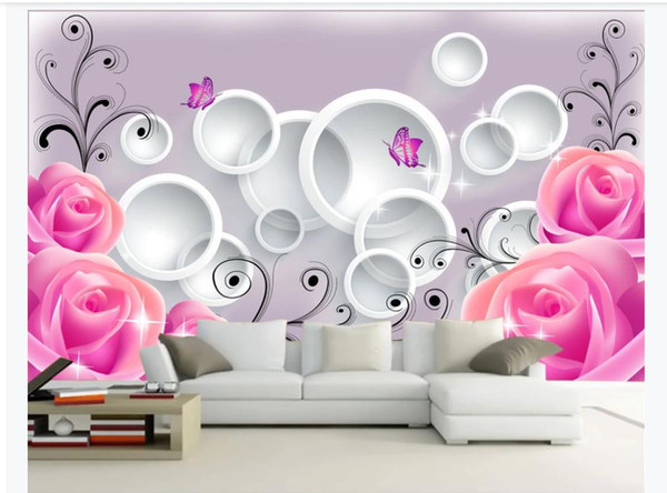 Personalizzato 3d murale carta da parati foto carta da parati rosa rosa moda romantica 3D soggiorno TV divano sfondo murale carta da parati per pareti 3D