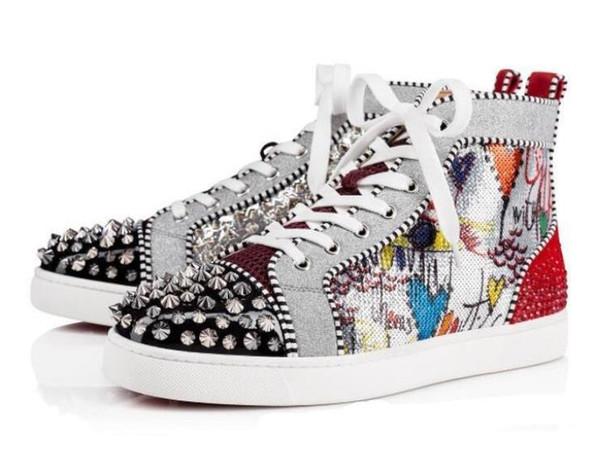 2019 Nouvelle Saison Rouge Fond Bas Sneakers Hommes Chaussures De Luxe Izlenim Argent Pik Pik Hiçbir Sınır RARE goujons ve strass grafiti c1