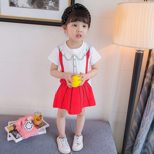 b5deb7f336f2 2019 new female baby summer dress 1-3 years old 4 girls foreign princess  dress children summer T-shirt skirt