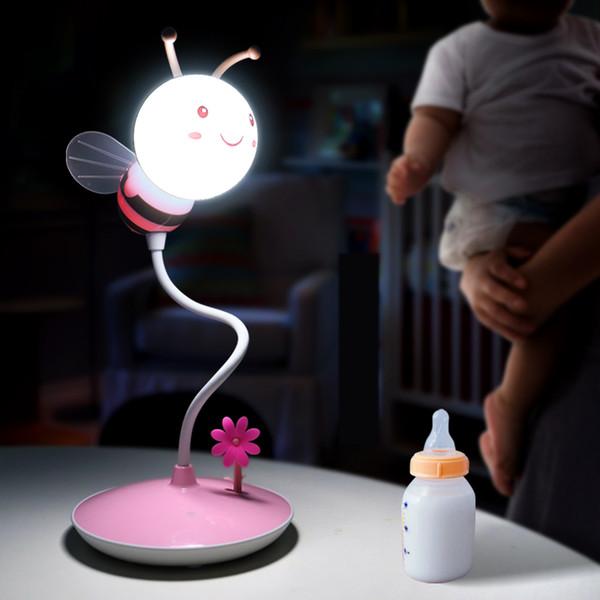Acheter Bande Dessinée Abeilles Nuit Lumière Dc 5 V Usb Veilleuse Rechargeable Touch Dimming Led Lampe De Table Bébé Enfants Cadeau Lampe De Chevet De