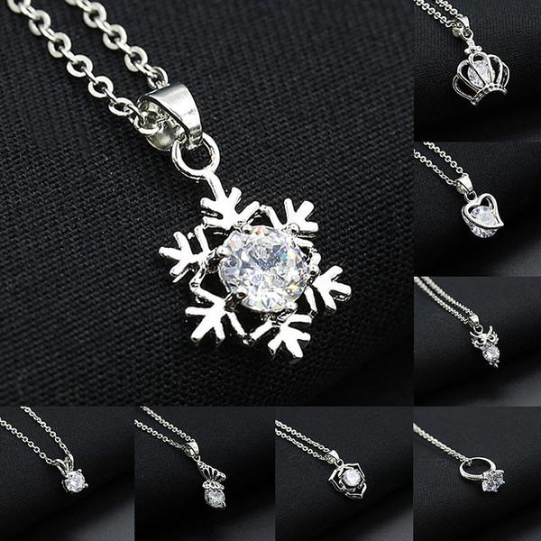 Gioielli Catena Donne collane di cristallo del fiocco di neve Hollow Cuore Corona Farfalla del gufo ciondoli d'argento con strass Charm Choker