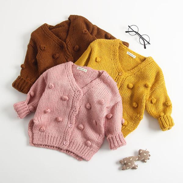 2019 Otoño Nueva llegada de algodón color puro moda todo fósforo de punto hecho a mano Cardigan Sweater Coat para lindo dulce bebé niñas