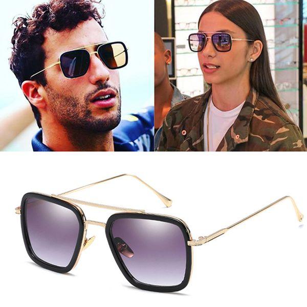 e08144c13 2019 DPZ Fashion Flight Style Tony Stark Sunglasses Men Square Brand Design  Sun Glasses Oculos De