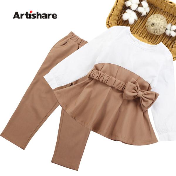Kızlar Giyim İlkbahar Sonbahar Kız Okulu Giyim Patchwork Gömlek + Uzun Pantolon 2PCS Çocuk Giyim 6 8 10 12 13 14