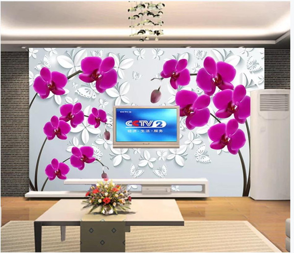 Custom Photo Wallpaper For Walls 3D mural wallpapers Beautiful flower butterfly flower living room mural TV background wall papers
