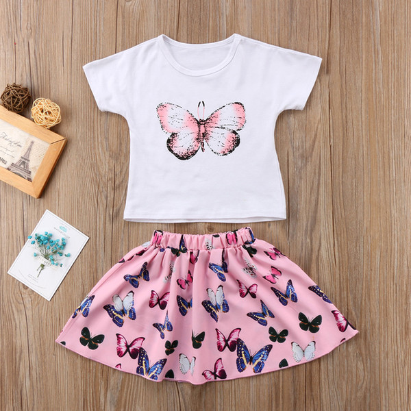 2019 Kids Baby Girls Butterfly Printed T-shirt Skirts Dress 2-piece Set Outfits Toddler Clothes Children Short Sleeve Dresses Clothing