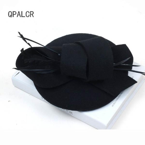 QPALCR Kış Fedoras Hostes Pillbox Şapkalar Vintage Yün Keçe Kadın Şapka Peçe Düğün Parti Şapkaları