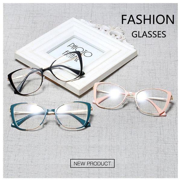 Transparent Cat Eye Sunglasses Frame Trends Eyeglasses Optical Eye Glasses Frames Women Flat Myopia Glass Spectacles Eyewear Wholesale