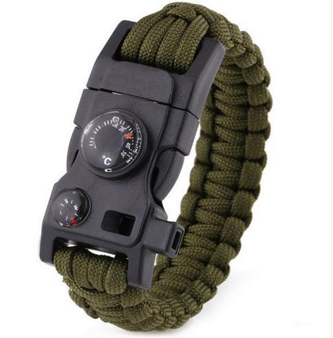 Multi-functional Survival Paracord Bracelet Black Camping Outdoor Survival Gear Whistle Lifesaving Braided Rope Tactical Wrist