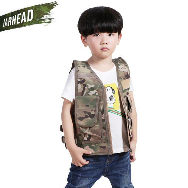 army fans outdoor children vest boy girl tactical vest camouflage kids clothing hunting cosplay fishing cs game vest thumbnail