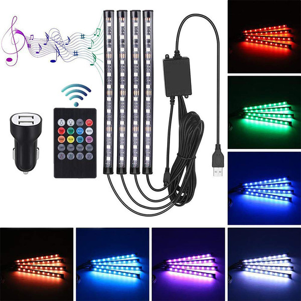 7 Colors Car Styling Atmosphere Lamps Bluetooth Car Interior Light With Remote Control 4 in 1 Car LED RGB Decorative Strip Light