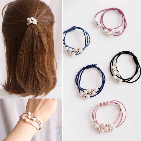 Korean Girls Pearls Hair Ties Rope Solid Hair Bands for Women Handmade Rubber Gum Elastic Bands Scrunchies Accessories