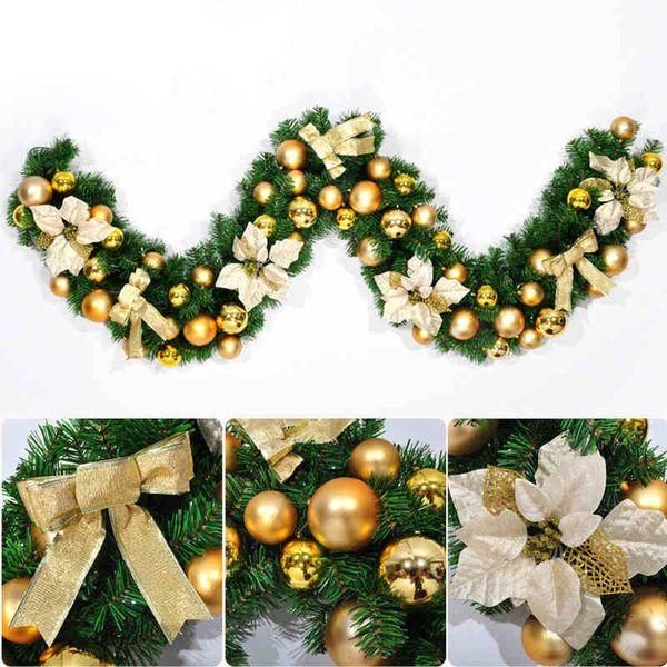 2.7 м золото / красный рождественские листья гирлянды из ротанга роскошные бантом цветочные шары, украшенные толстым камином камин рождественская гирлянда сосна SH190904