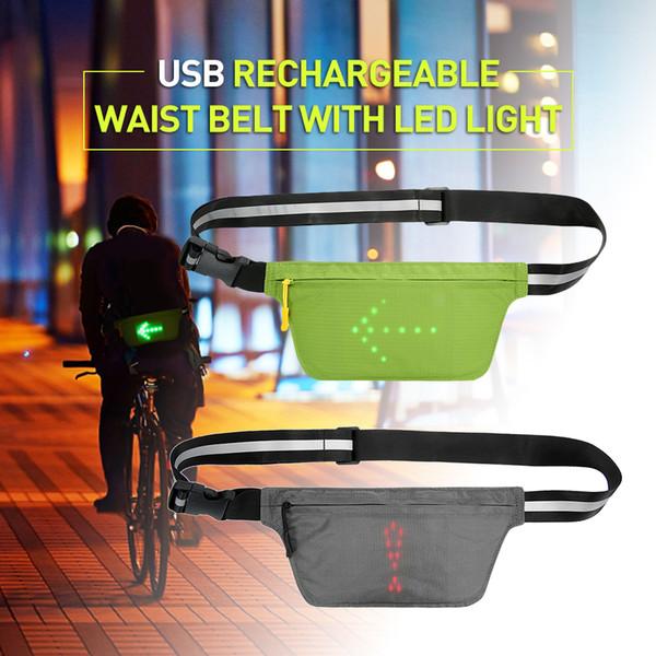 USB аккумуляторная беговая сумка для талии Светоотражающий поясной ремень Fanny Pack со светодиодной сигнальной лампой Уличная сумка для езды на велосипеде