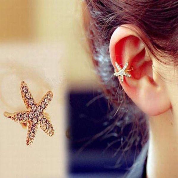 JETTINGBUY Crystal Star Clip Earing Starfish Ear Cuff Chic Heart Clip Earring Gold Oorbellen Brincos Sin Piercing 1Pc