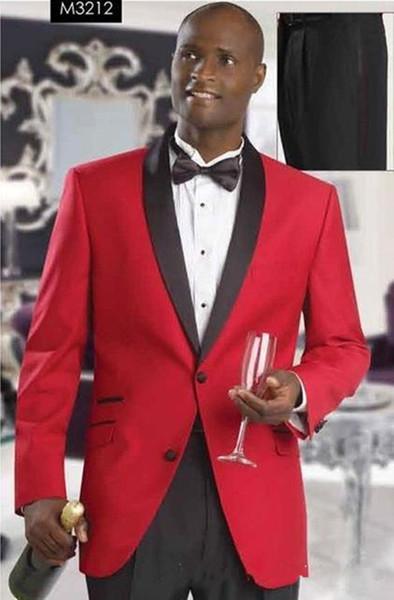 Новый классический стиль жених смокинги друзья жениха Красный Шаль отворотом лучший человек костюм свадебный мужской пиджак костюмы (куртка + брюки + пояс + галстук) 1292