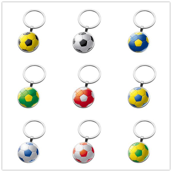 top popular Soccer ball key rings Time Gem Stone key chain Creative manual accessories car key ring 9 colors alloy keychain 2020
