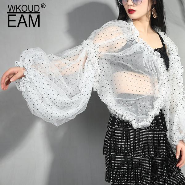 WKOUD 2019 Nouveau printemps EAM été V-col long lanterne manches blanc imprimé Dot Volants Point Shirt Femme Chemisier Mode YC7