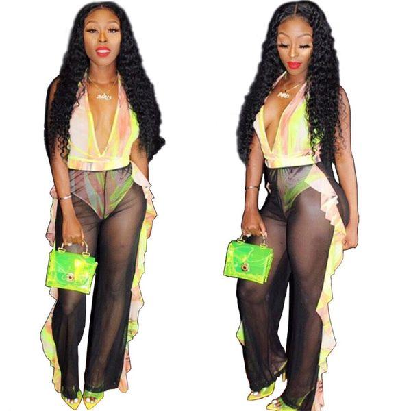 2019 nouvelles femmes cravate teinture impression tenue plage profond v-cou body volants épissage pantalon droit costume deux pièces ensemble