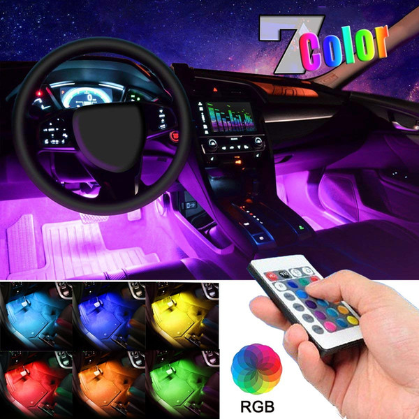 36 LED Multi-color Car Interior Lights Under Dash Lighting Waterproof Kit with Wireless Remote Control Car Charger