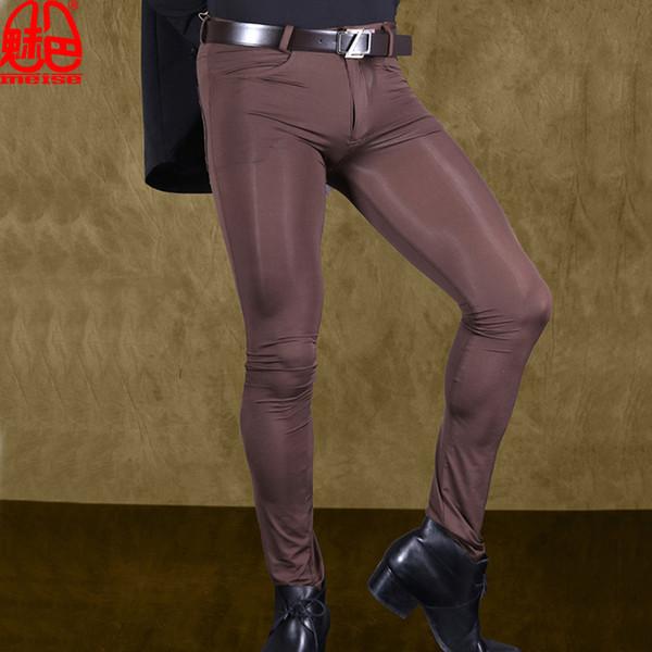 Hommes Sexy Pantalon Transparent Ice Silk Voir au travers des pantalons moulants élastiques Pantalons Silky Crayon Lingerie érotique Club gay Porter F90