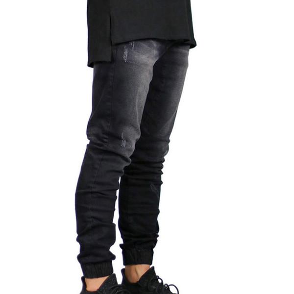 Dunkelblaue Jeans der Männer Trend elastischen Balken Kleidungsentwurf der Männer Jeans Designer-Mode elastischer Reißverschluss Männer Casual Fußhosen tricolor FFX