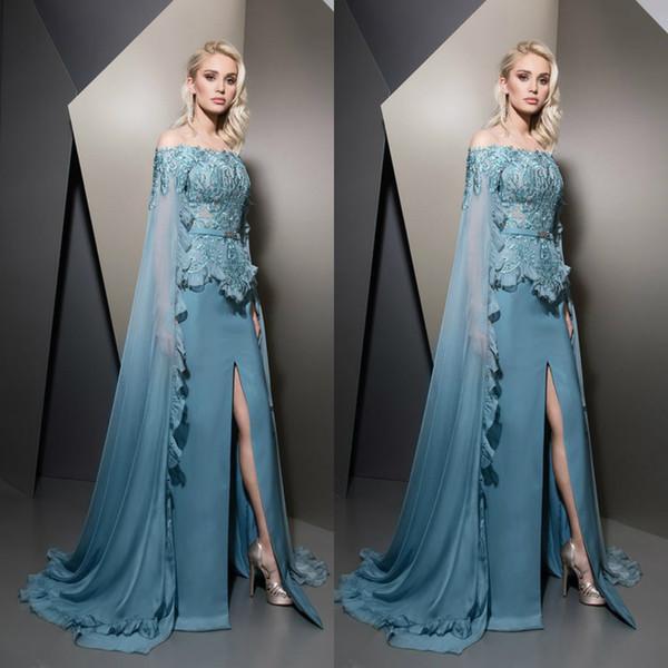 Ziad Nakad 2019 Evening Dresses With Wraps Caped Teal Off Shoulder Lace  Split Train Prom Gowns Plus Size Formal Dress Robes De Soirée Evening  Dresses ...