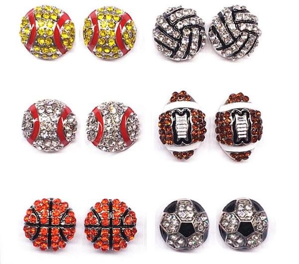 Esportes das mulheres Stud Brincos Basquete Softball Vôlei de Beisebol Futebol Americano Rhinestone Embellished Ear Studs Stud Brincos