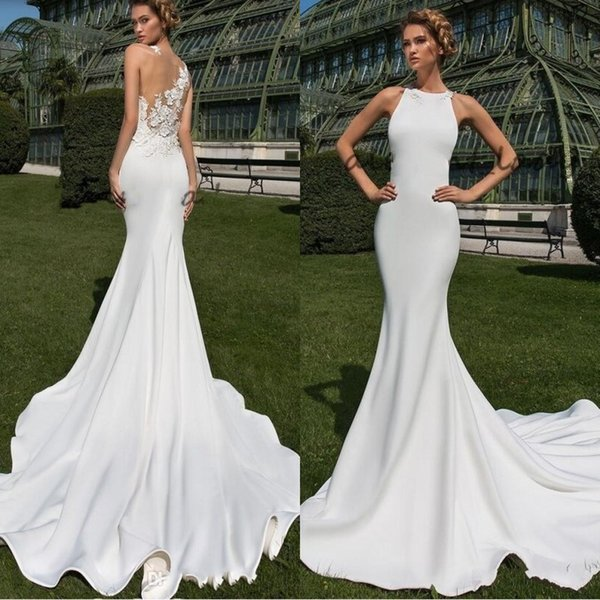 2019 Simple Matte Stain Country Mermaid Wedding Dresses Sheer Back with 3D Floral Lace Jewel Crystal Design Trumpet Outdoor Bridal Dress