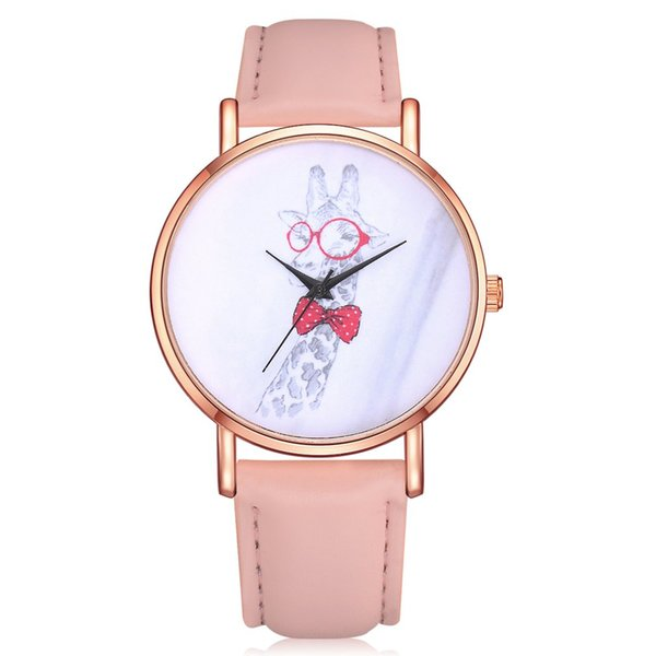 Women Quartz Watch PU Leather Strap Funny Giraffe Pattern Round Dial Watches Exquisite Workmanship Casual High Quality