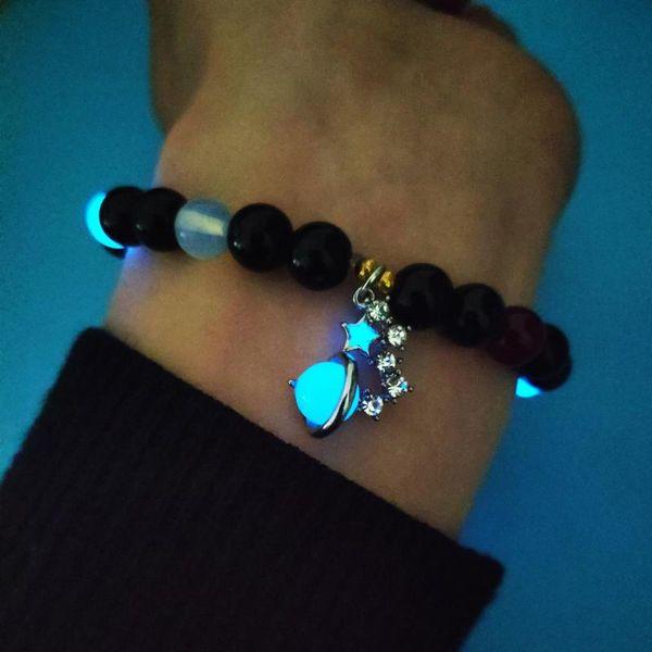 Pure natural Luminous Stone beads bangle elastic Bracelet light in the dark