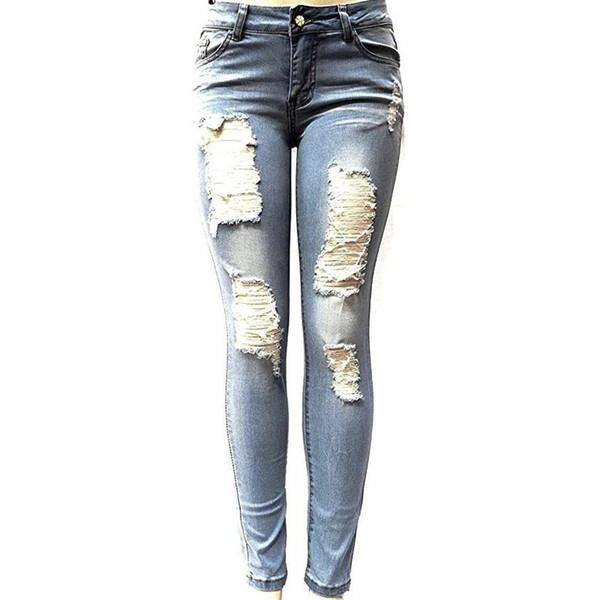 Kadın Kalem Skinny Jeans Kadın Denim Pantolon Pantolon Açık Mavi Koyu Mavi Sıkı Için Yırtık Kot