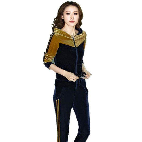 Autumn Womens Gold Velvet Leisure Suit Clothing Set Casual Patchwork Velour Hoodies + Pants Sportswear Tracksuit For Girls 5xl