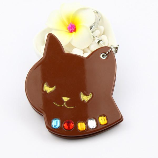 Bolsa de acrílico colgador espejo compacto llavero gato soñoliento con piedra regalos promocionales artículos de viaje bolsillo espejo llavero diseño animal llavero