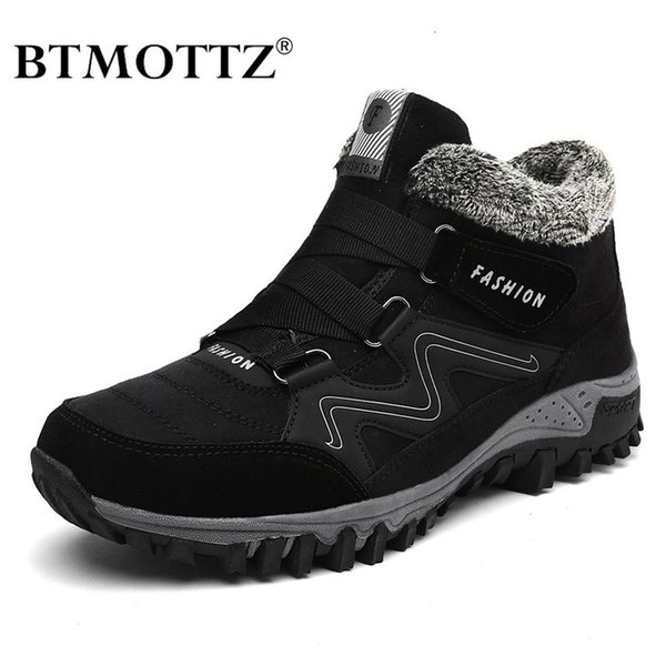 Winter Men Boots with Fur 2019 Warm Leather Snow Boots Men Winter Work Casual Shoes Sneakers High Top Rubber Ankle Boots BTMOTTZMX190907