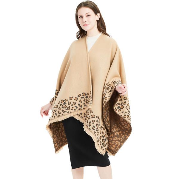 Brun Poncho Leopard Femme Femmes Hiver Couverture Écharpe Chaud Doux Cachemire Épaissir Longues Dames Gland Écharpes Poncho Foulard