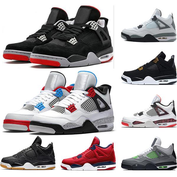 Acheter Nike Air Jordan 4 Retro 2019 OG Bred 4s Chaussures De Basket Ball De Designer Pour Hommes 4 Citron Pâle Pure Money Lighting Monarchie Noir Et