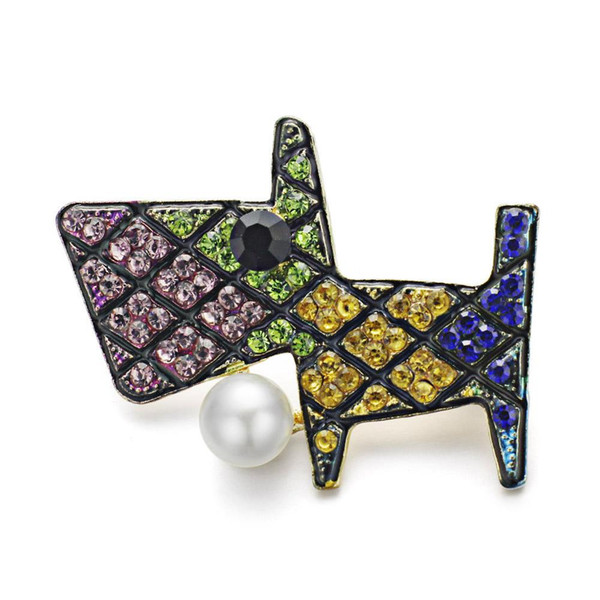 Niza colorido perro de cristal broches para las mujeres multicolor Rhinestone simular perla Animal perrito lindo broche Pin regalo Z058