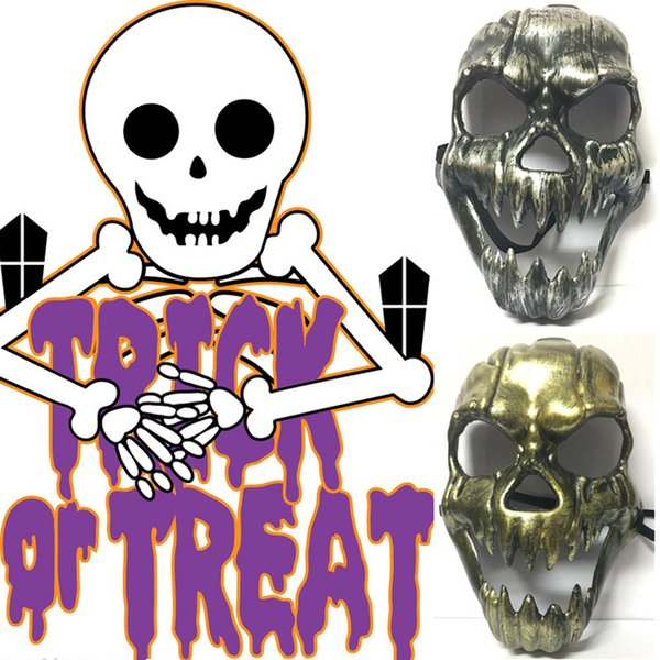 Skeleton Horror Mask Halloween Skull Masquerade Masks Adult Full Face Mask Retro Plastic Skull Mask Halloween Prop Party Supplies DBC VT0581