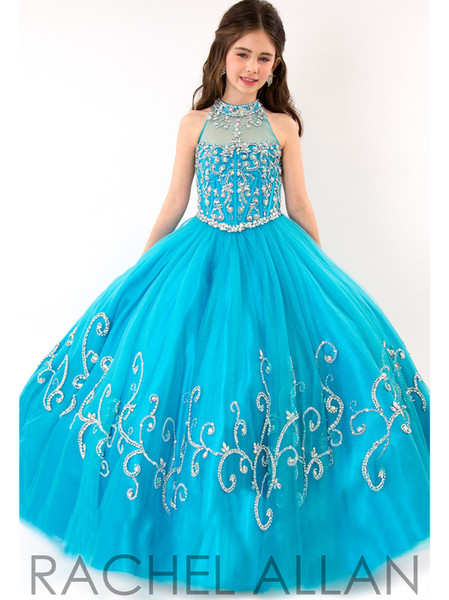 Custom Made 2019 Girls Pageant Dresses Sheer High Neck Tulle Blue Rhinestone Crystal Beads Glitz Ball Gown Long Flower Girls Gowns