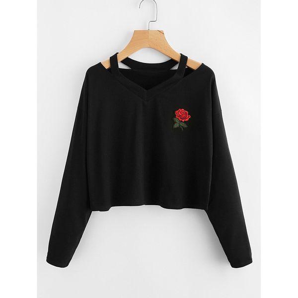 Fashion Rose Print Causal Tops Blouse Womens Long Sleeve Sweatshirt JUL23