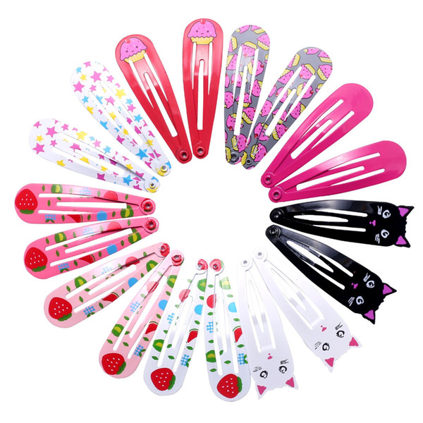 18pcs 5cm Hairpins Snap Hair Clips for Children Girls Hair Accessories Baby Cute Clip Pins Cat Color Metal Printed Barrette