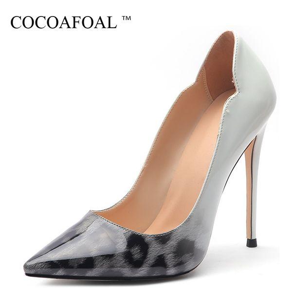 COCOAFOAL - Chaussures à talons hauts pour femmes, imprimé léopard, chaussures de mariée, escarpins
