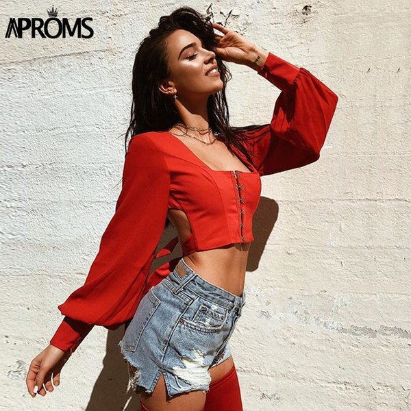 Aproms Vintage Square Neck Long Sleeve Crop Top Women Sexy Backless Bow Tie Up Black Blouse Summer Streetwear Tops 2019 Blusas J190618
