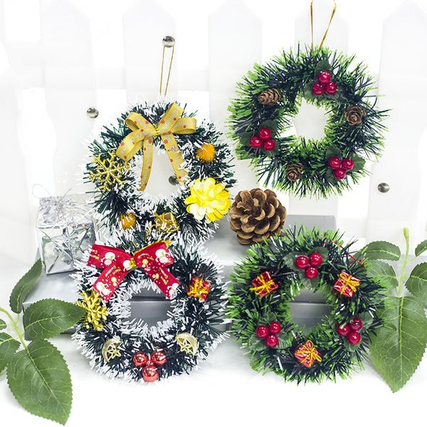 Artificial Christmas Wreath Pre-decorated with Berries Pinecones Holiday Decorative Hanging Garland Ornaments 5-Inch
