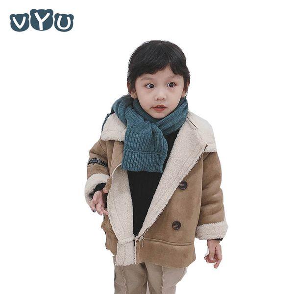 Fashion Winter Infant Kids Boys Girls Woolen Jacket Korean Style Thicken Faux Fur Coat Solid Color Outwear Kids Winter Clothes