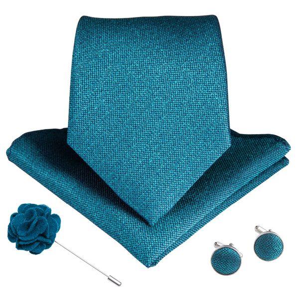 DiBanGu 15 Styles Bleu Teal Hommes Cravate Boutons De Manchettes Hanky Broche Set De Soie Hommes Cravate 8cm Large Cravates Pour Hommes D'affaires De Mariage Formel