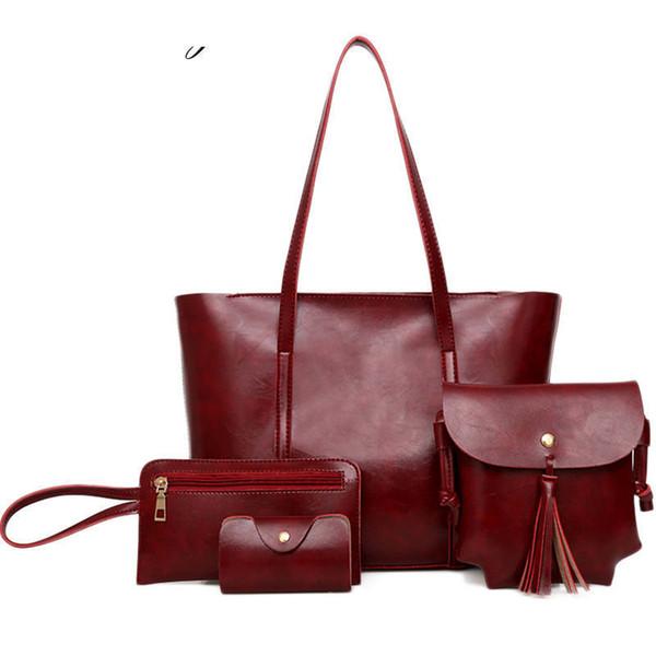 good quality 2019 New Fashion 4pcs/set Composite Bags Women Shoulder Bag Pu Leather Casual Female Totes Large Capacity Handbags
