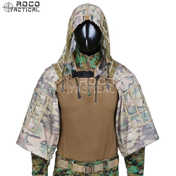 ghillie ROCOTACTICAL Army Sniper Coat Viper Hood Tactical Combat Sniper Ghillie Suit Hood para Airsoft Paintball CP Multicam